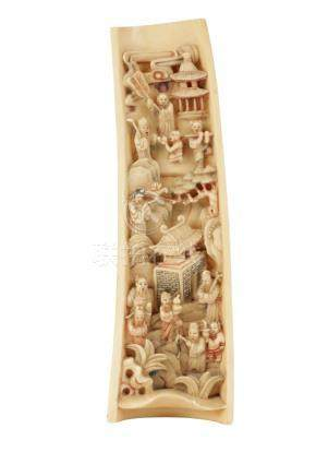 CARVED IVORY AND POLYCHROME PAINTED WRIST REST, QING DYNASTY