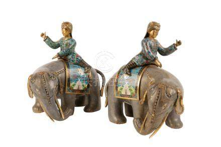 PAIR OF CLOISONNE ELEPHANTS AND RIDERS
