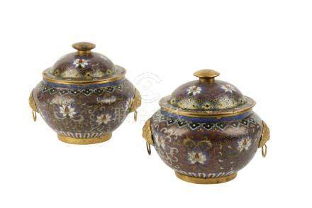 PAIR OF PURPLE-GROUND CLOISONNE COVERED URNS, QING DYNASTY, 19TH CENTURY