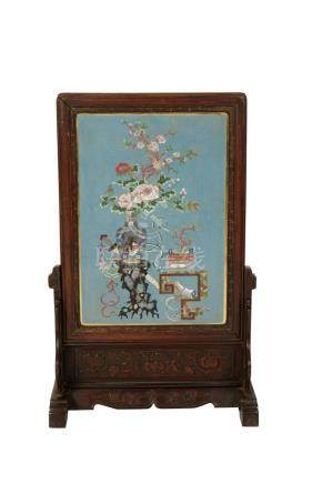 CLOISONNE AND HARDWOOD TABLE SCREEN, QING DYANSTY, 19TH CENTURY