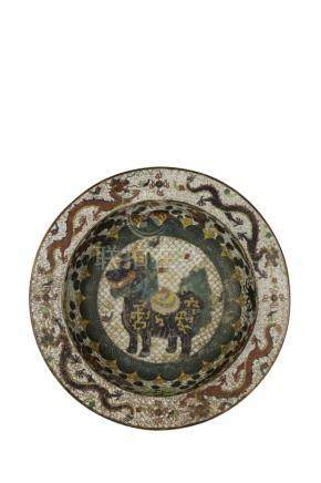 LARGE CLOISONNE MING STYLE BASIN, REPUBLIC PERIOD