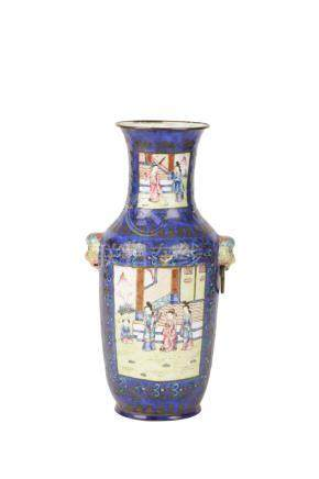 BLUE-GROUND ENAMEL VASE, QING DYNASTY, 19TH CENTURY
