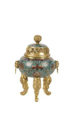 CLOISONNE TRIPOD CENSER AND COVER, QING DYNASTY
