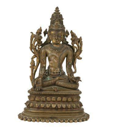 BRONZE FIGURE OF VAIROCANA, TIBET, 16TH / 17TH CENTURY