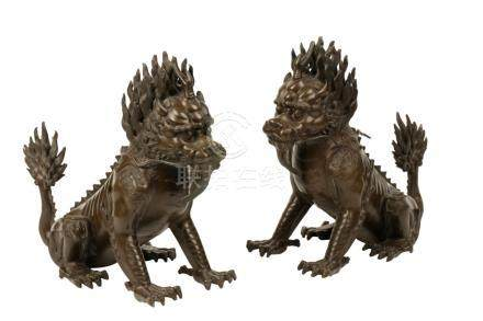 PAIR OF BRONZE LION DOGS, QING DYNASTY, 19TH CENTURY