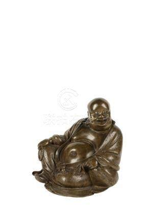 BRONZE FIGURE OF THE LAUGHING BUDDHA, 17TH CENTURY