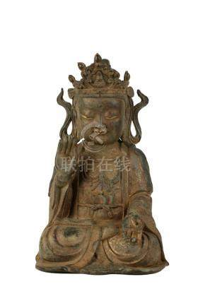 SEATED GILT-BRONZE GUANYIN, MING OR LATER