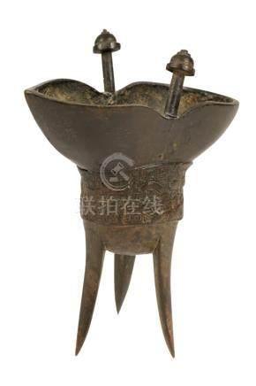 ARCHAISTIC BRONZE WINE CUP (JUE), MING DYANSTY, 17TH CENTURY