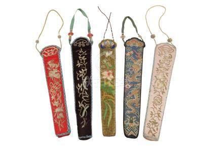 FIVE EMBROIDERED FAN CASES, EARLY 20TH CENTURY