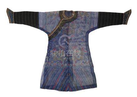 BLUE KESI 'DRAGON' ROBE, EARLY 20TH CENTURY