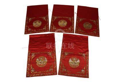 SET OF FIVE RED SILK WALL HANGINGS, EARLY 20TH CENTURY