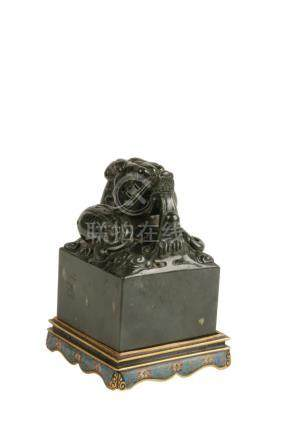 SPINACH-GREEN JADE SEAL ON CLOISONNE STAND