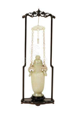 CELADON JADE HANGING VASE AND COVER