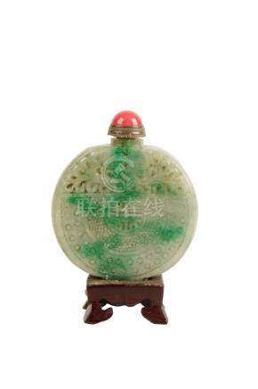 CARVED JADEITE SNUFF BOTTLE, QING DYNASTY, 19TH CENTURY