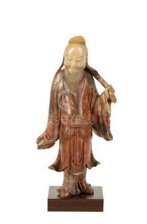 FINE SOAPSTONE CARVED FIGURE OF A SAGE, QING DYNASTY, 18TH CENTURY