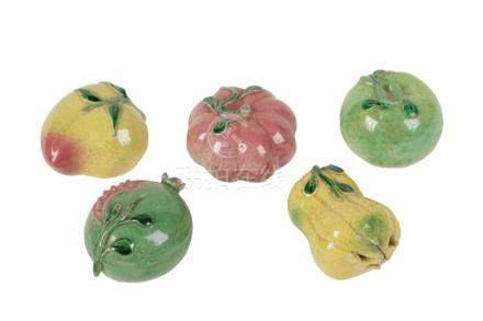 FIVE GLAZED-POTTERY FRUITS, LATE QING DYNASTY