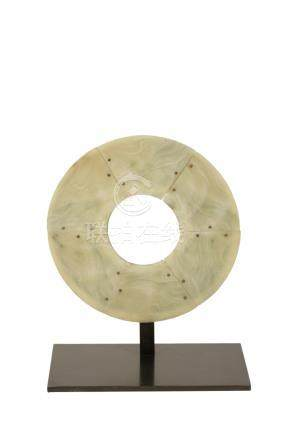 EXCEPTIONALLY LARGE JADE DISC, NEOLITHIC STYLE, PROBABLY NORTH WEST CHINA