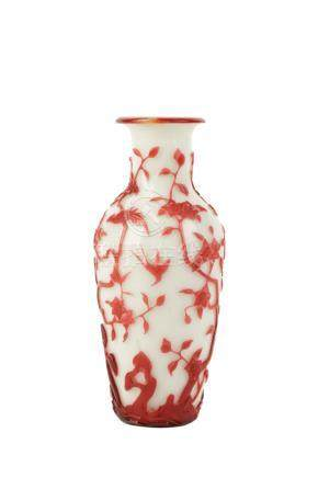 PEKING GLASS 'CRAB APPLE AND PRUNUS' VASE, QING DYNASTY, 19TH CENTURY