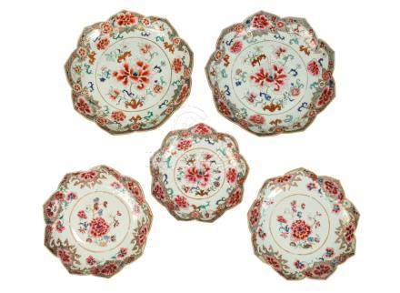SET OF FIVE FAMILLE ROSE LOTUS FORM ENAMELLED DISHES, QING DYNASTY, 18TH CENTURY
