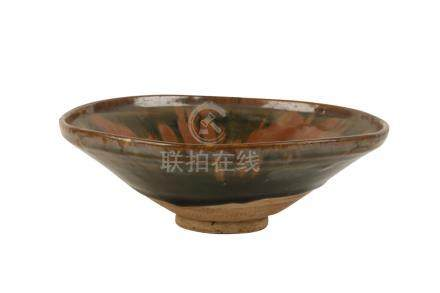 RUSSET-SPLASHED GLAZED-POTTERY CONICAL BOWL, SONG DYNASTY OR LATER