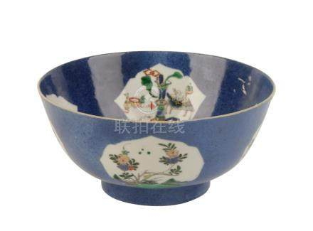 FAMILLE VERTE POWDER-BLUE GROUND BOWL, QING DYNASTY, 19TH CENTURY
