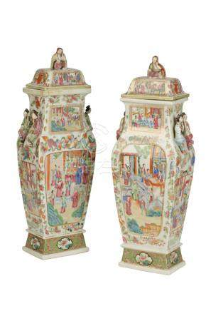 NEAR PAIR OF CANTON FAMILLE ROSE COVERED VASES, QING DYNASTY, 19TH CENTURY