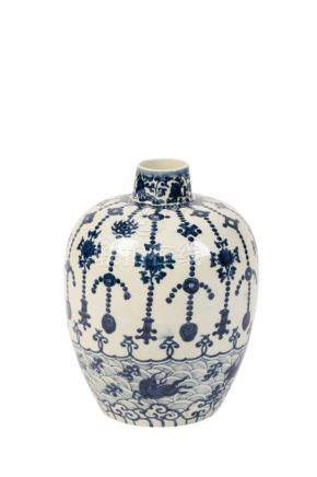 BLUE AND WHITE OVOID JAR, JIAJING SIX CHARACTER MARK AND OF THE PERIOD