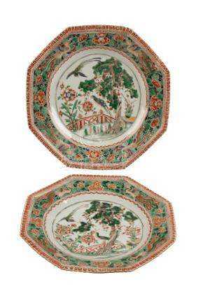 TWO FAMILLE VERTE OCTAGONAL DISHES, QING DYNASTY, 18TH CENTURY