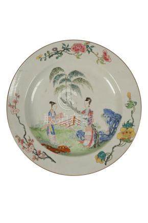 FAMILLE ROSE ENAMEL CHARGER, QING DYNASTY, 18TH CENTURY