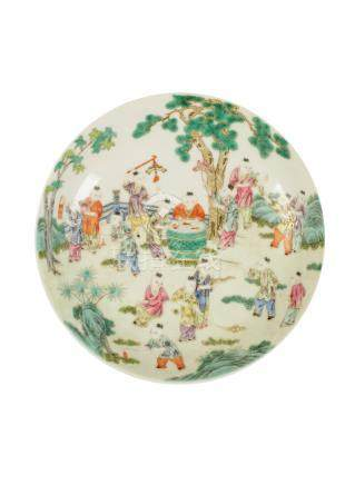 SMALL FAMILLE ROSE 'BOYS' DISH, XUANTONG MARK AND POSSIBLY OF THE PERIOD