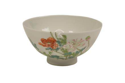 FINE FAMILLE ROSE 'PEONY' BOWL