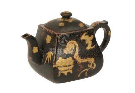 PAINTED YIXING TEAPOT, QING DYNASTY, 18TH CENTURY