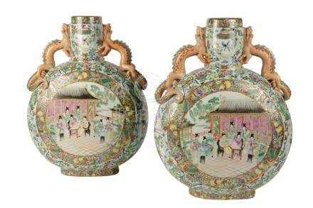 LARGE PAIR OF FAMILLE ROSE MOON FLASKS, LATE QING / REPUBLIC PERIOD