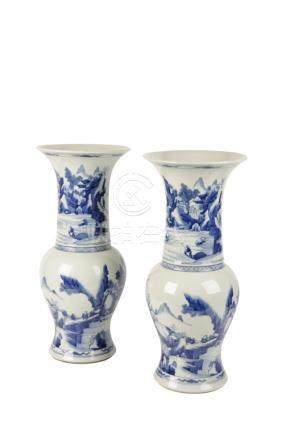 PAIR OF BLUE AND WHITE VASES, QING DYNASTY, 19TH CENTURY