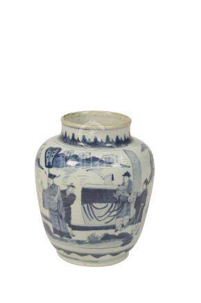 LARGE BLUE AND WHITE JAR, TRANSITIONAL PERIOD