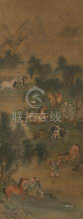 AFTER ZHAO MENGFU (1254-1322), HORSES AND GROOMS