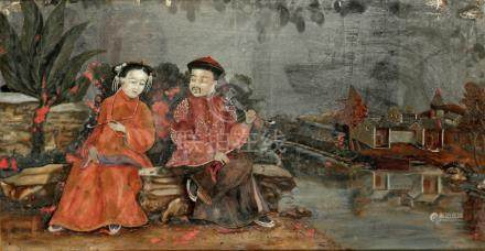 EXPORT REVERSE MIRROR PAINTING, QING DYNASTY, 19TH CENTURY