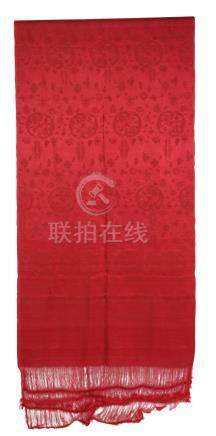 RARE AND IMPORTANT RED SILK DAMASK SHAWL, MING / QING DYNASTY