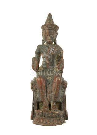 SEATED BRONZE BOTTISATTVA, SRI LANKA 18TH / 19TH CENTURY