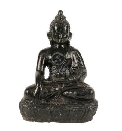 PAINTED STONE SEATED BUDDHA, NEPALESE, 19TH CENTURY