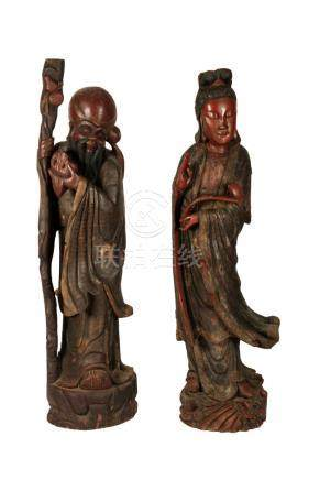 PAIR OF LARGE CARVED LACQUER WOOD FIGURES, REPUBLIC PERIOD