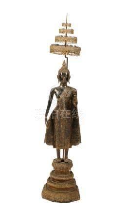 GILT-BRONZE STANDING BUDDHA, THAILAND, 19TH CENTURY