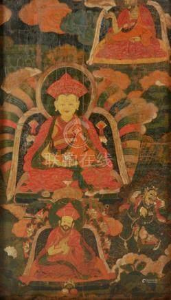 RARE PAINTED TEMPLE FRESCO, BHUTAN, 19TH CENTURY