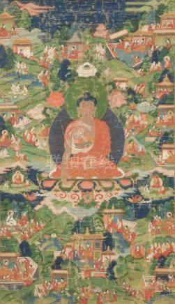 THANGKA, painted with the Shakyamuni Buddha