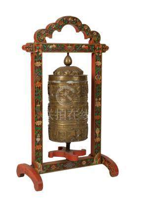 COPPER TEMPLE PRAYER WHEEL (MANI) ON LATER PAINTED WOOD STAND