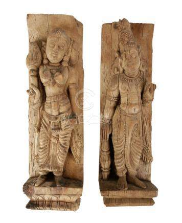 TWO CARVED WOOD PILASTERS, INDIA, 19TH CENTURY