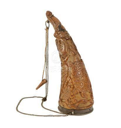 RARE CARVED YAK HORN 'THUNGRA' HORN, TIBET, 18TH / 19TH CENTURY