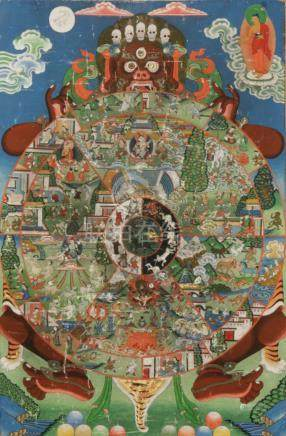 THANGKA OF THE WHEEL OF LIFE, TIBET, 20TH CENTURY