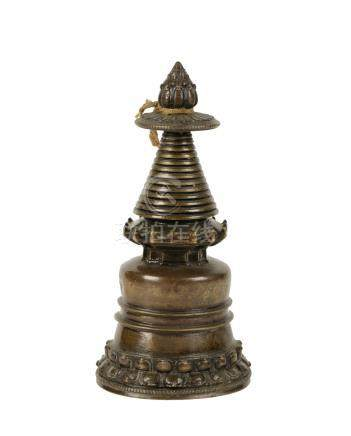 BRONZE STUPA, TIBET, 13TH CENTURY OR LATER