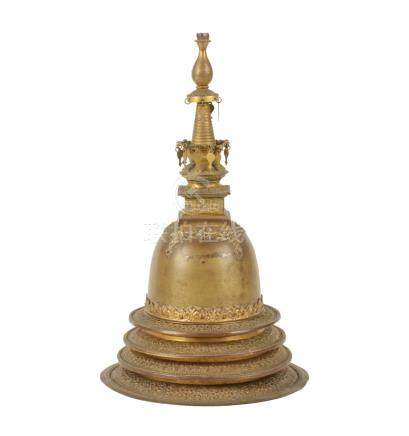 GILT METAL STUPA, INDIA, 19TH CENTURY